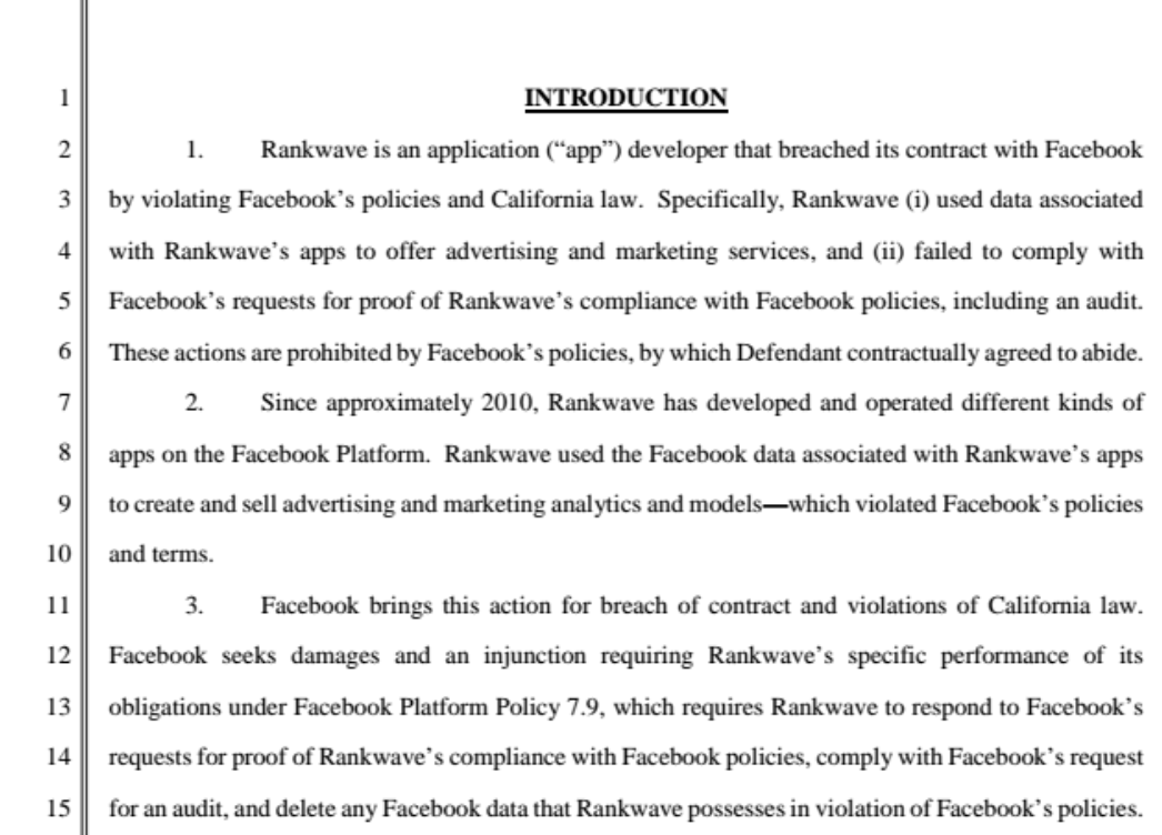 Rankwave, an analytics firm sued by Facebook for data misuse