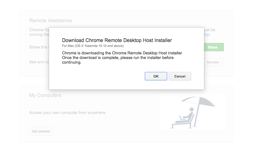 chrome remote desktop Host Installer for the Mac