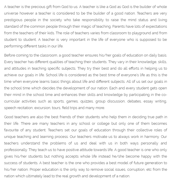 Teacher's Day Essay For Students in English 1000 words
