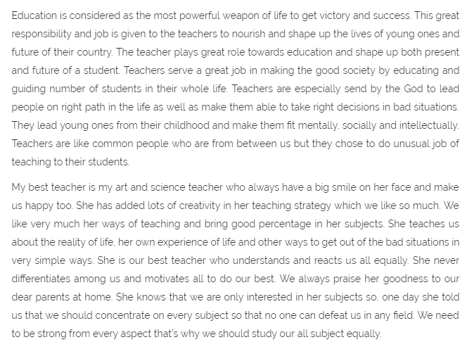 Teacher's Day Essay For Students in English 800 words