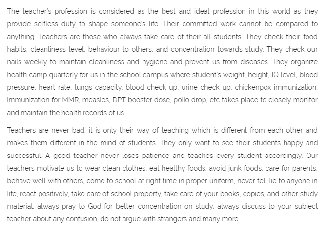 Teacher's Day Essay for Student in English 600 Words