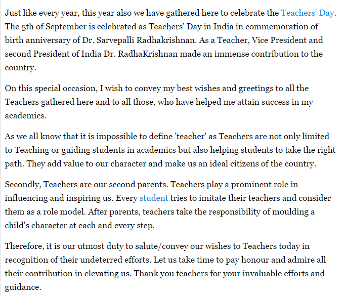 Teacher's Day Speech in English for Students