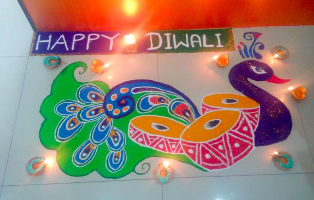 Beautiful Peacock Rangoli Designs For Diwali