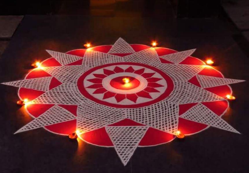 Easy Rangoli Design for Deepavali