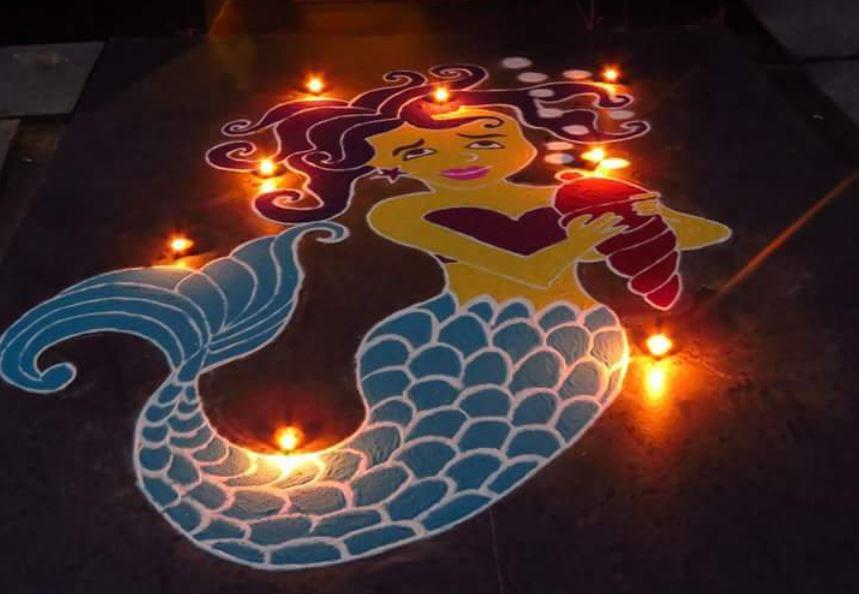 Easy Rangoli Design for Diwali 2019
