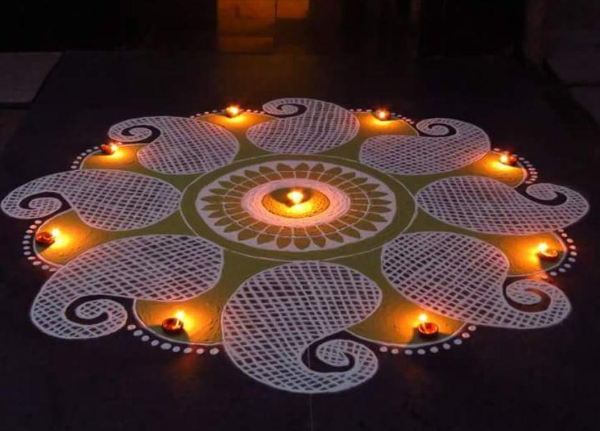 Easy Rangoli Design for Diwali with Diya