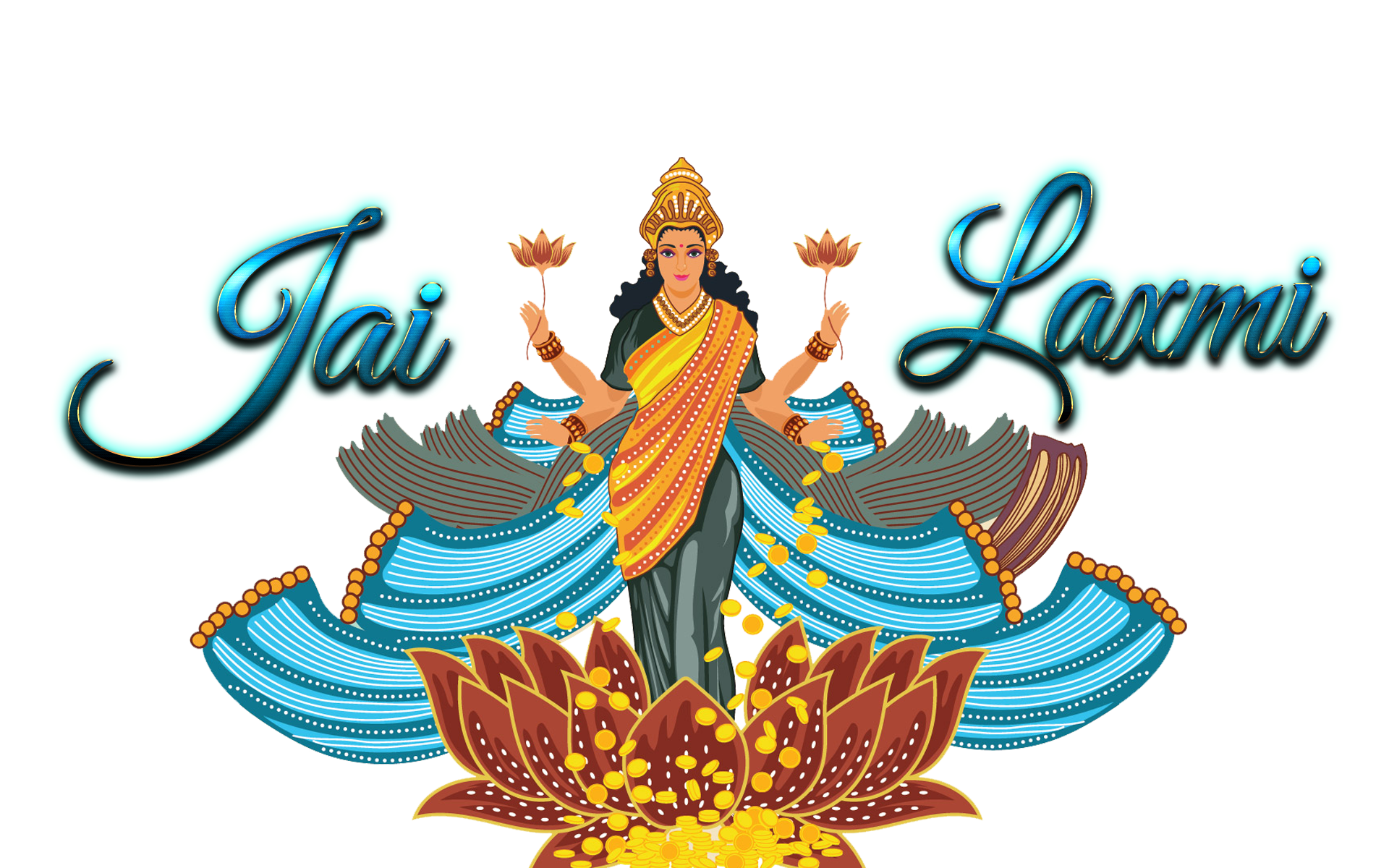 Happy Dhanteras Stickers with Laxmi & Lord Kubera