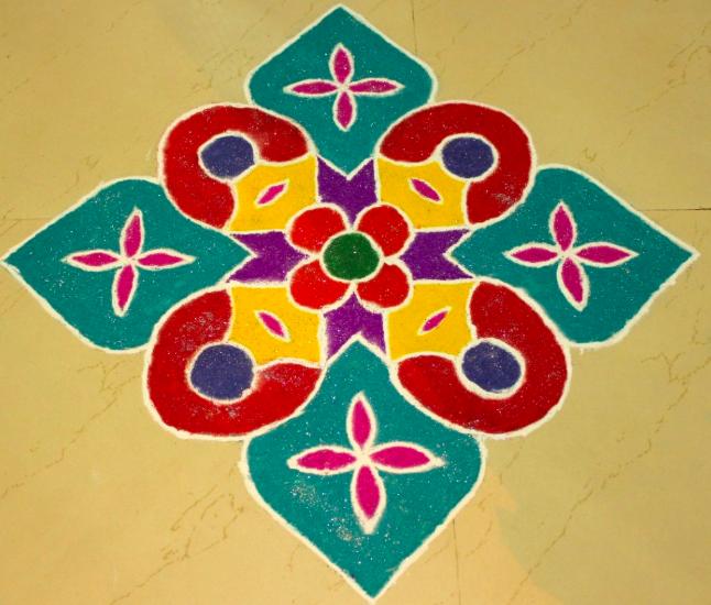 Simple Diwali Rangoli with Colors