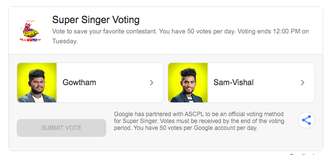 Super Singer 7 Online Voting