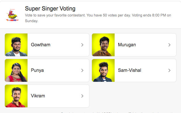 Super Singer 7 Vote Online