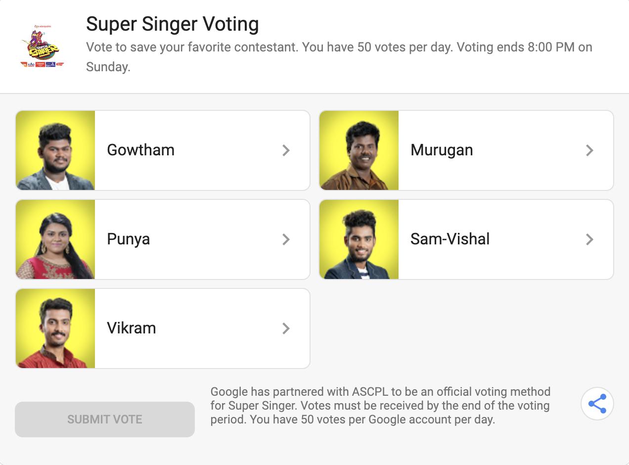 Super Singer Voting Result Today